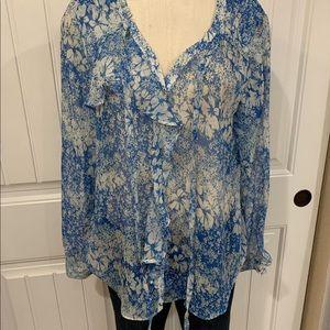 Sundance Tops - Sundance Catalog silk blue floral top large